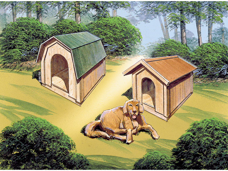 Two styles of dog houses, one with barn style roof and the other with traditional gable roof