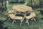 Octagon-shaped wood picnic table with matching benches around it