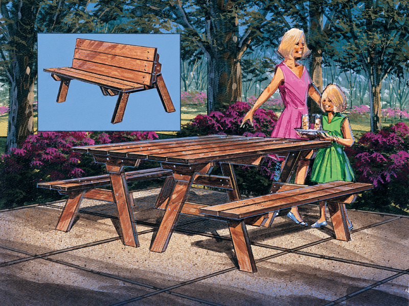 Superb Picnic Bench Table Plan 002D 0005 House Plans And More Evergreenethics Interior Chair Design Evergreenethicsorg