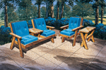 Wood patio funiture set with matching sofa, chair and table