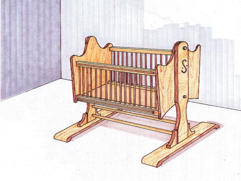 Charming Old-fashioned rocking cradle is easy-to-build and can be handed down through the generations
