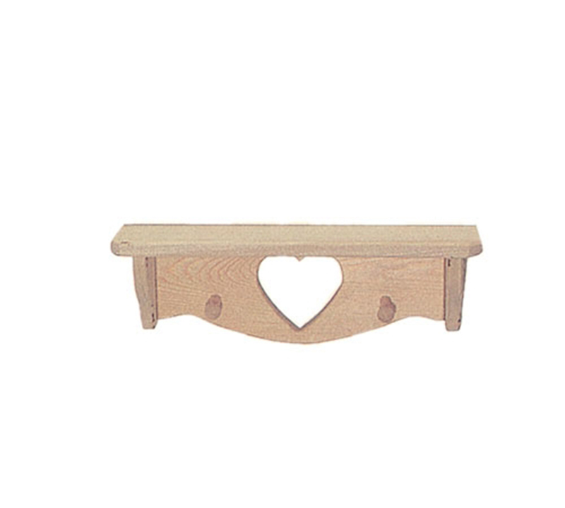 "18"" wood shelf has heart carved out of the center"