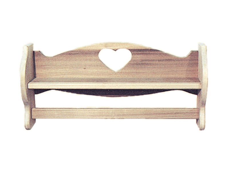 This towel bar with shelf has a heart carved out for charm and is great for any country style bathroom