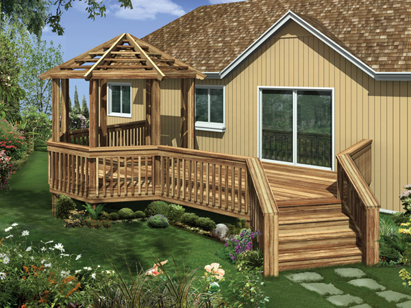 Raised Wood Deck With Decorative Gazebo On One End
