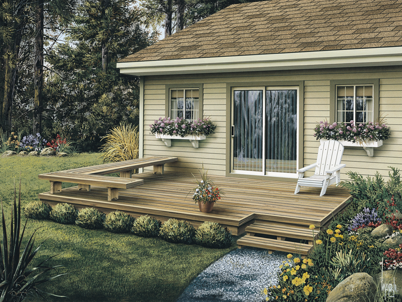 Low patio deck offers a stylish design with built-in L-shaped bench in one corner