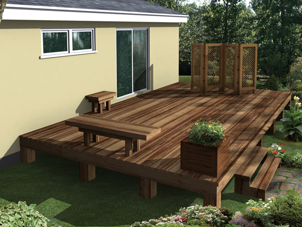 Deck Enhancements Including A Planter Box, Decorative Screen, Bench And End Table
