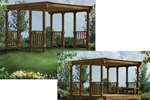 Freestanding patio cover has slated roof for partial sunlight and railings on two sides