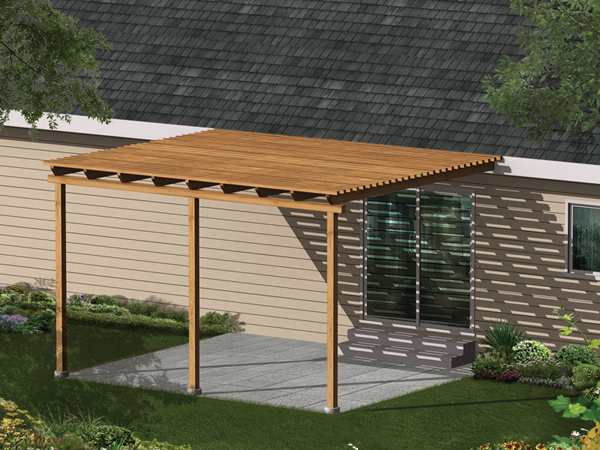 Patio Cover Composed Of Wood For Blocking Sunshine