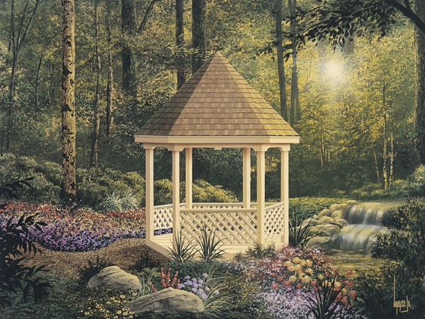 Charming Six-Sided Gazebo With Lattice-Style Enclosure