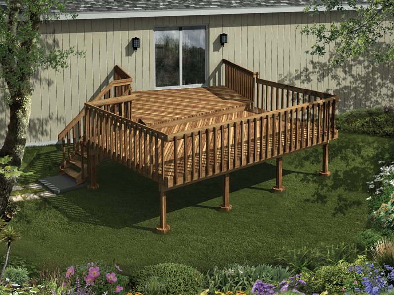 Raised wood deck has two levels for added interest