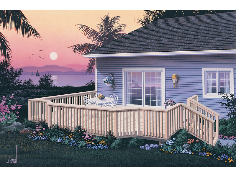 Bay-shaped deck has railing for added safety and style