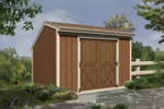 Salt box style storage shed with double front doors