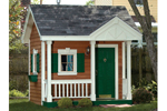 Charming children's playhouse with covered front porch and side flower boxes on the windows