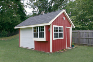 Video Thumbnail of a Convenience Shed with Multiple Windows for Added Light, a Side Door and Front Garage Style Door