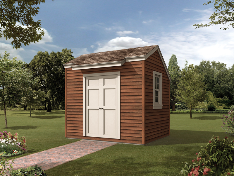 Tis salt box storage shed is a simple designt ahtw orks well with any home design