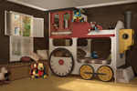 Adorable all wood locomotive bunk bed transforms a child's room into a imaginative play world