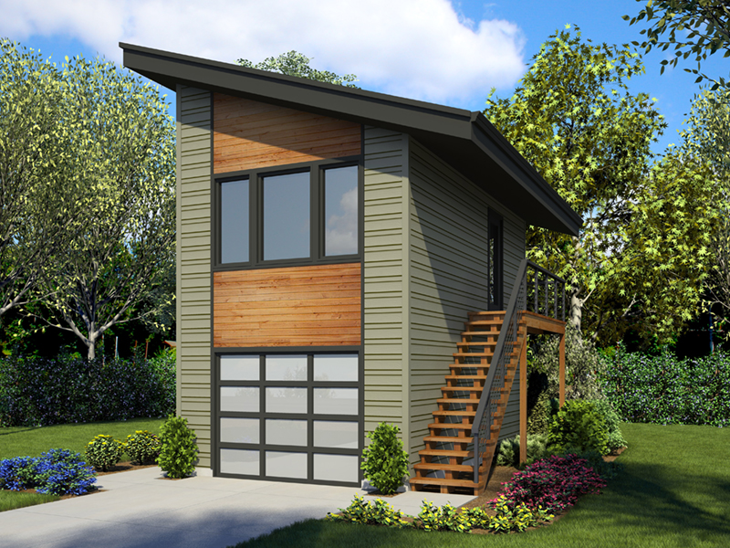Building Plans Front of Home - Frida Apartment Garage 012D-7506 | House Plans and More