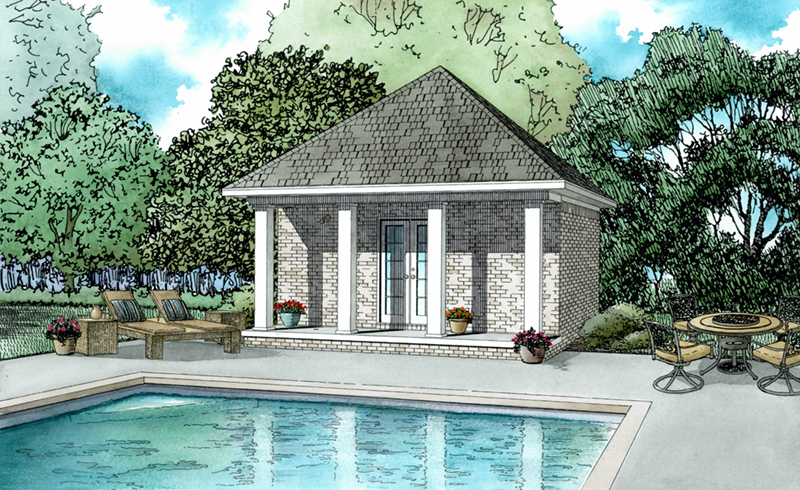 Building Plans Front of Home - Tilly Poolhouse 055D-1027 | House Plans and More