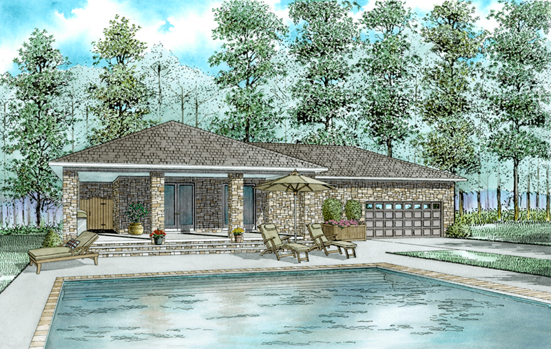 Building Plans Front of Home - Platt Small Rustic Home 055D-1028 | House Plans and More