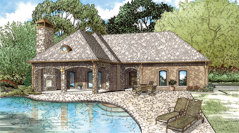 Traditional House Plan Front of Home - Cabana Cove Poolside Structure 055D-1029 | House Plans and More