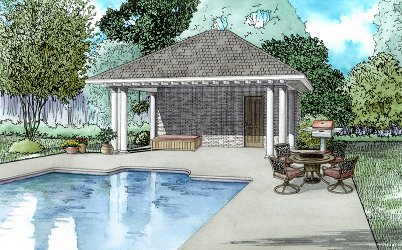 Traditional House Plan Front of Home - Christi Poolhouse 055D-1038 | House Plans and More