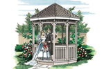 Special trimwork makes this ten-sided gazebo truly memorable