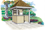 This summer pavillion is a terrific shaded spot for enjoying a beverage in the backyard