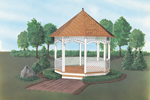 Decorative wood trim details adds charm to this nostalgic gazebo style