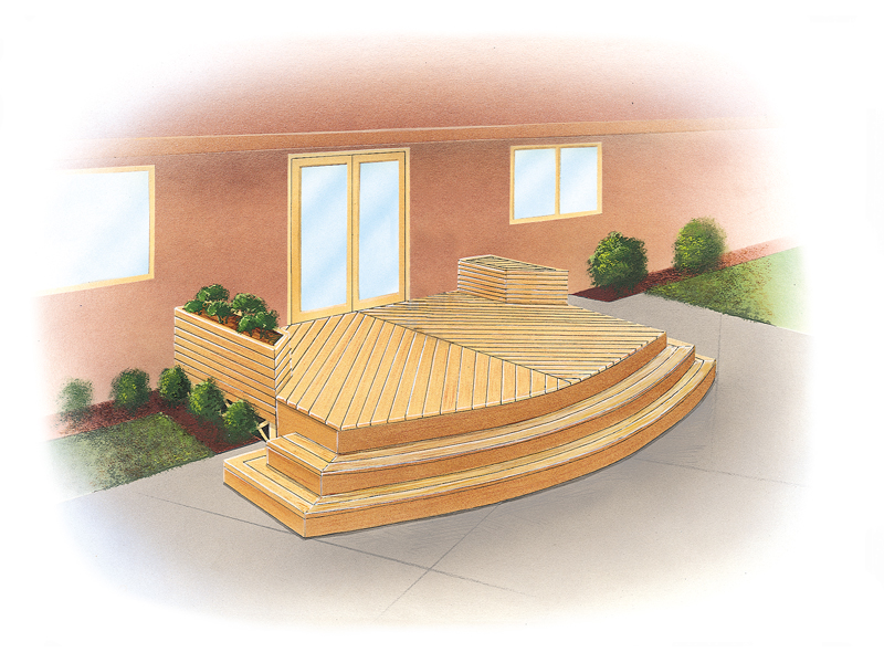 Casual curved wood deck has modern feel