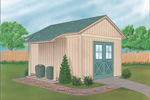 This yard and garden shed is the dieal style for many home plans and has a double door entry