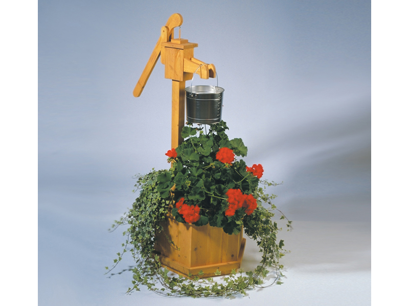 Rustic all wood country style water pump planter