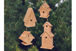 Four wooden birdhouses in multiple shapes and sizes that all look great together