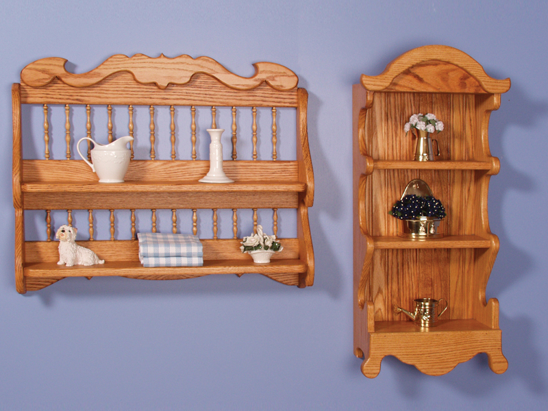 Two styles of collectible shelves provide a tall style with three shelves and a wide version with two shelves