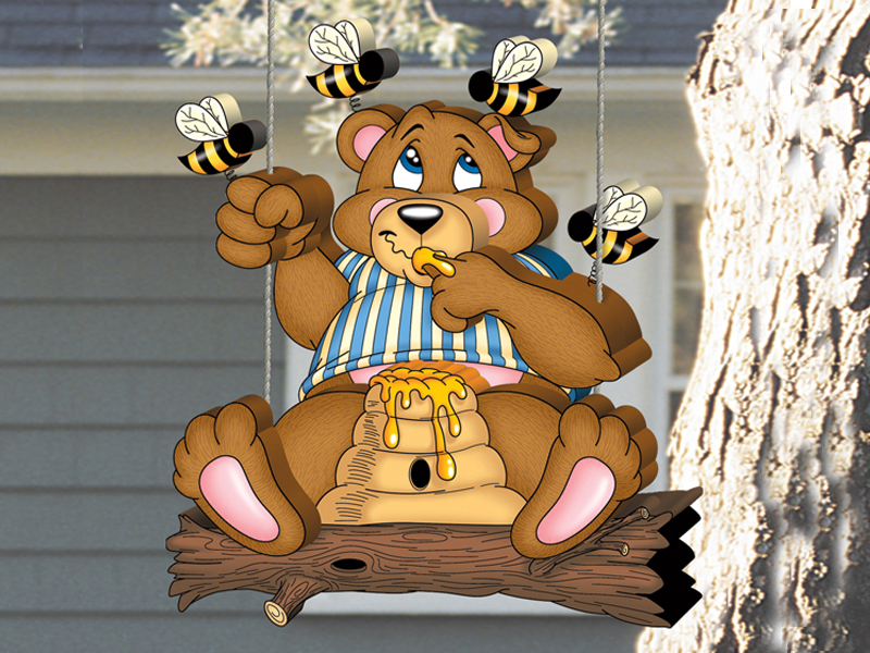 Fun and cute honey bear swinger is a yard art pattern designed to hang from a substantial tree