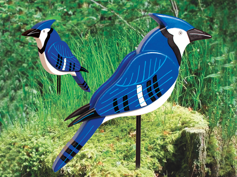 Layered big 3D blue jay can be staked into the yard in a garden or lawn area