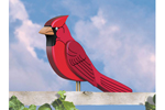 Big 3D cardinal can be perched on a fench or staked into a backyard