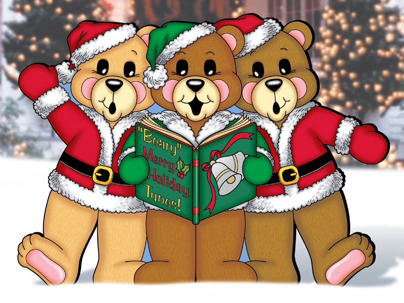 Caroling bears create a cute scene in your front yard as visitors and family arrive through the holidays