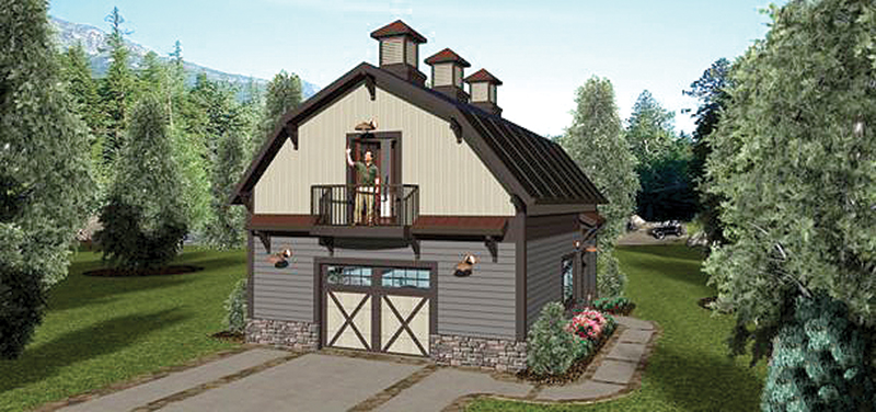 Farmhouse Plan Front of Home - Carly Country Apartment Garage 108D-7507 | House Plans and More