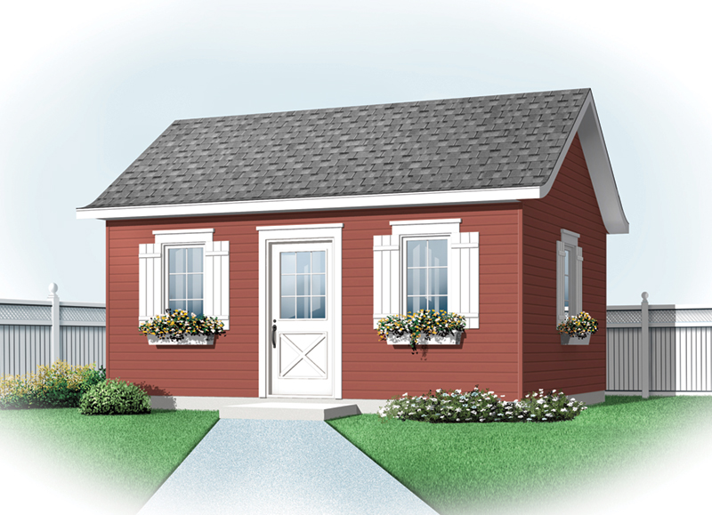 Building Plans Front of Home - Jaclyn Garden Shed 113D-4504 | House Plans and More