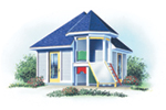 Building Plans Front of Home - Jaden Playhouse Shed 113D-4505 | House Plans and More