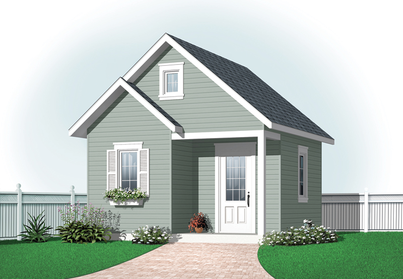 Building Plans Front of Home - Kay Double Gable Garden Shed 113D-4506 | House Plans and More