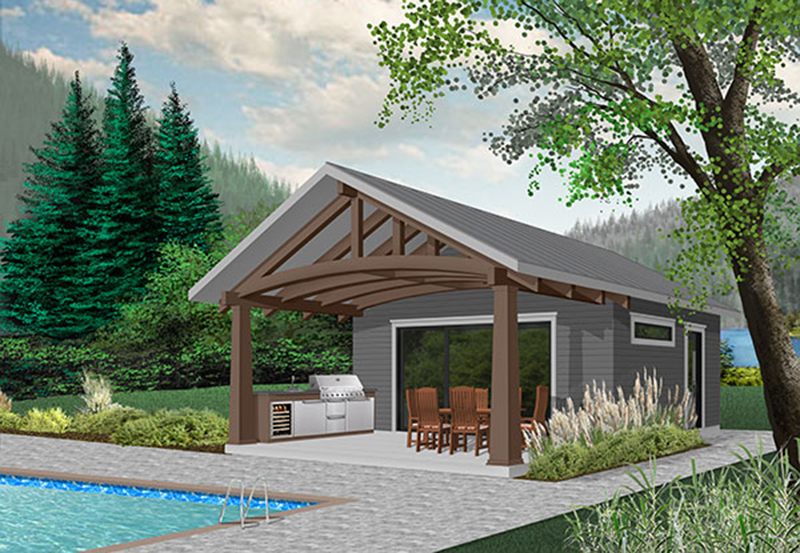 Building Plans Front of Home - Miles Beach Pool Cabana 113D-7508 | House Plans and More