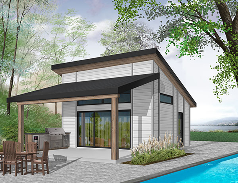 Building Plans Front of Home - Rita Beach Pool Cabana 113D-7509 | House Plans and More